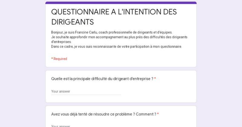 QUESTIONNAIRE A L'INTENTION DES DIRIGEANTS - Osez Coaching Pro